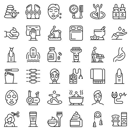 Self-care icons set. Outline set of self-care vector icons for web design isolated on white background 일러스트