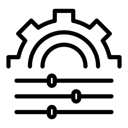 Communications engineer gear wheel icon. Outline communications engineer gear wheel vector icon for web design isolated on white background Ilustración de vector
