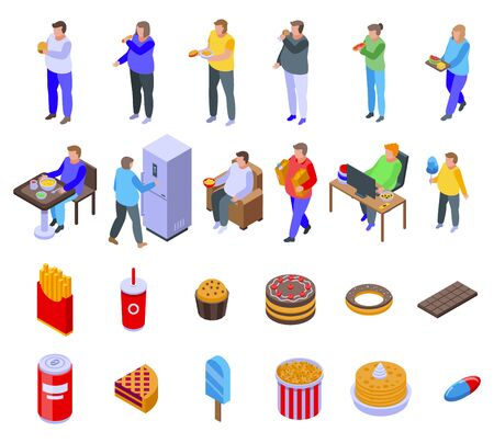 Gluttony icons set. Isometric set of gluttony vector icons for web design isolated on white background