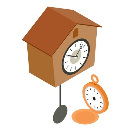 Antique clock icon. Isometric illustration of antique clock vector icon for web
