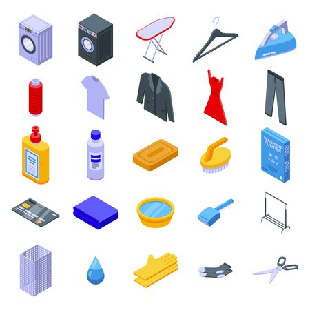 Dry cleaning icons set. Isometric set of dry cleaning vector icons for web design isolated on white background