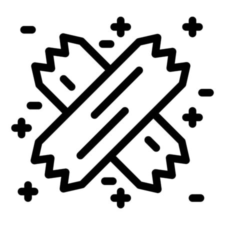 Adhesive plaster cross icon, outline style