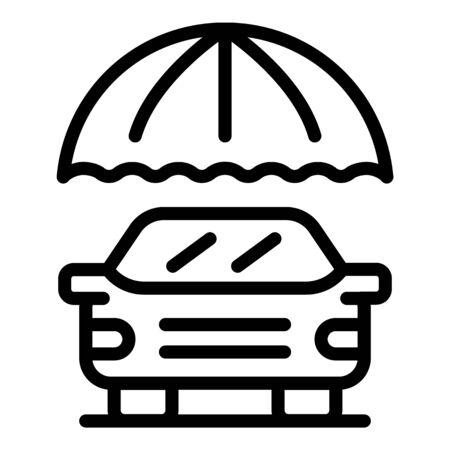 Car under umbrella icon, outline style Illusztráció