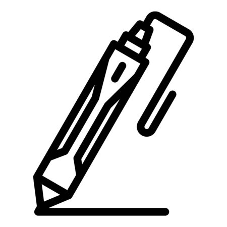 3d crafting pen icon. Outline 3d crafting pen vector icon for web design isolated on white background