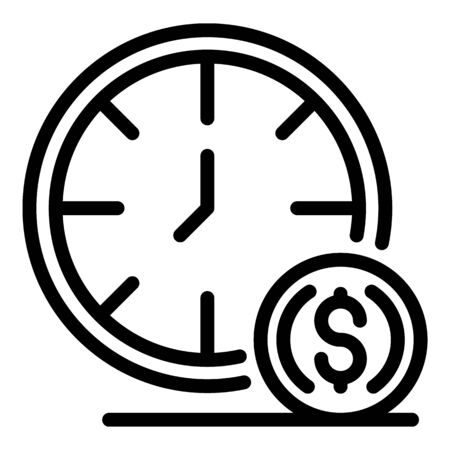 Clock and credit icon, outline style