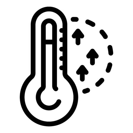 Rise in temperature icon, outline style