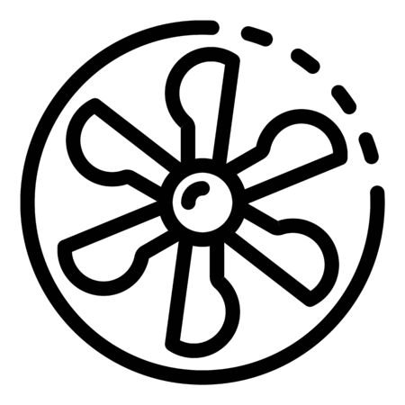 Fan blades in a circle icon, outline style