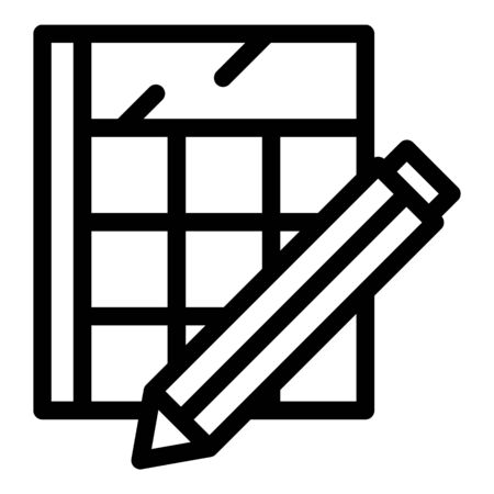 Calculator and pencil icon, outline style