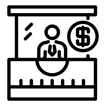 Bank credit worker icon. Outline bank credit worker vector icon for web design isolated on white background