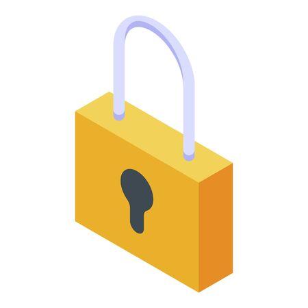 Padlock icon. Isometric of padlock vector icon for web design isolated on white background