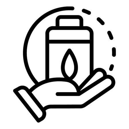 Hand with eco battery icon, outline style
