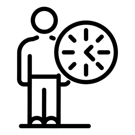 Man and round clock icon. Outline man and round clock vector icon for web design isolated on white background