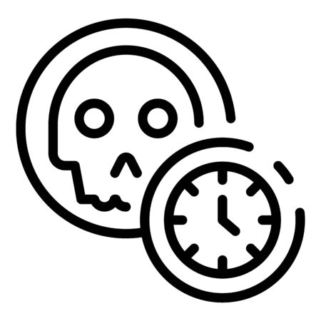 Skull and time icon. Outline skull and time vector icon for web design isolated on white background