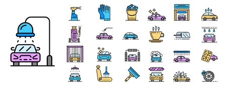 Car wash icons set. Outline set of car wash vector icons thin line color flat isolated on white