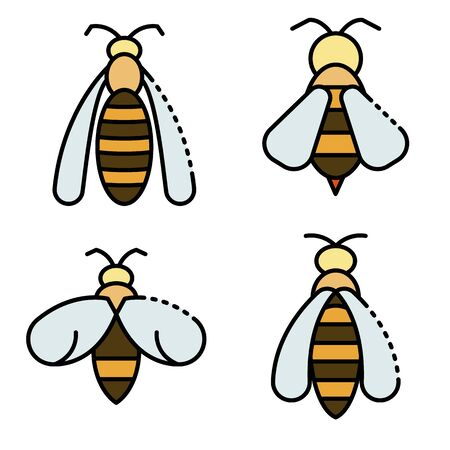 Wasp icons set line color vector
