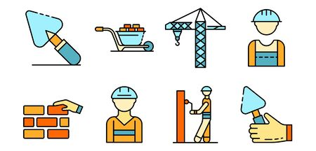 Masonry worker icons set line color vector  イラスト・ベクター素材