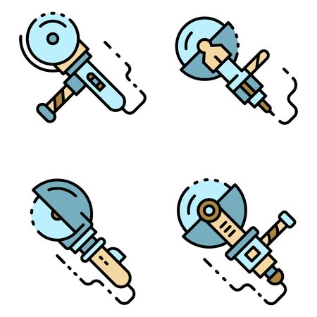 Angle grinder icons set line color vector