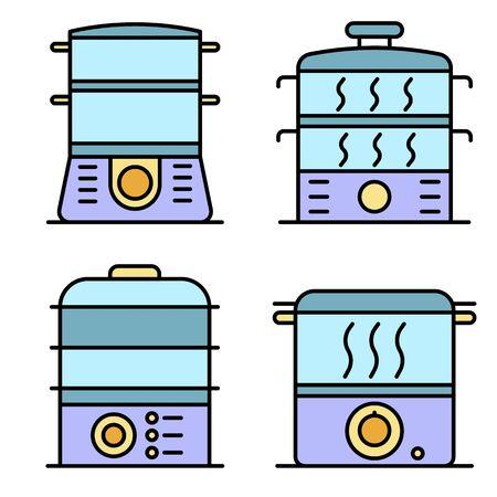 Steamer icons set line color vector
