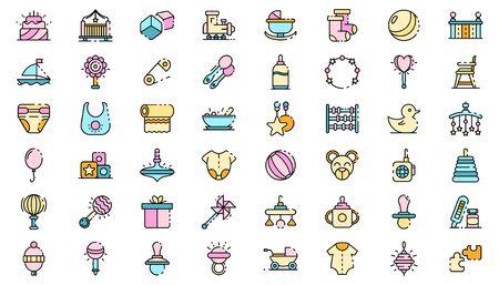 Baby items icons set line color vector Vektoros illusztráció