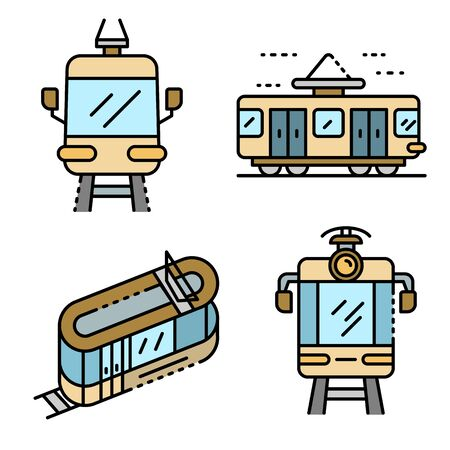 Tram car icons set. Outline set of tram car vector icons thin line color flat isolated on white