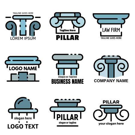Pillar icons set line color vector Illusztráció