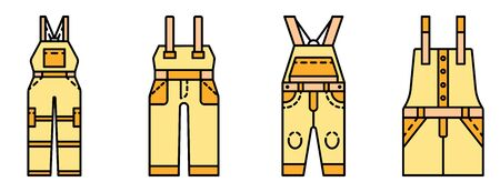 Overalls icon set line color vector