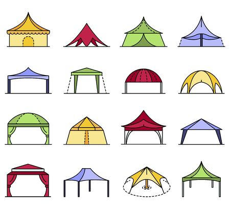 Canopy icon set line color vector 向量圖像
