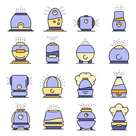 Humidifier icons set line color vector