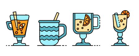 Mulled wine icons set line color vector