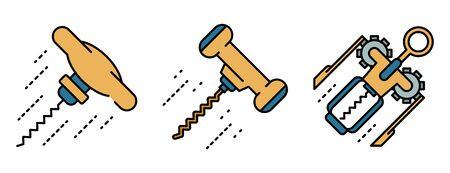 Corkscrew icons set line color vector Illustration