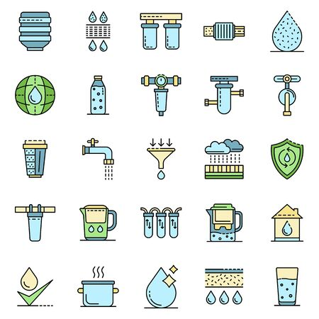 Filter water icons set line color vector Vettoriali