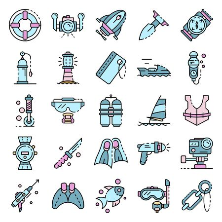 Snorkeling equipment icons set line color vector