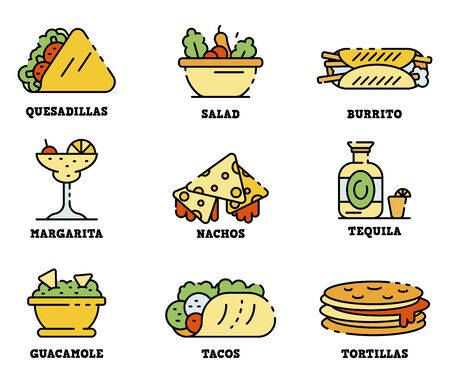 Mexican food icons set line color vector Vector Illustration
