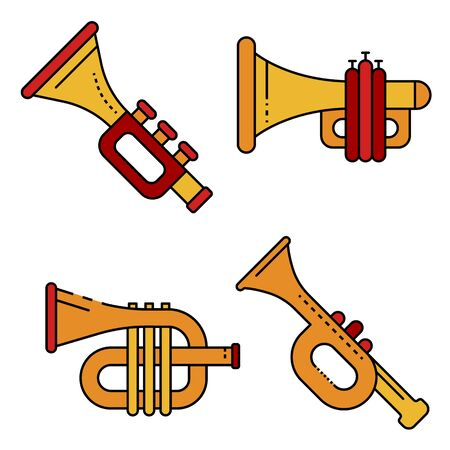 Trumpet icons set line color vector