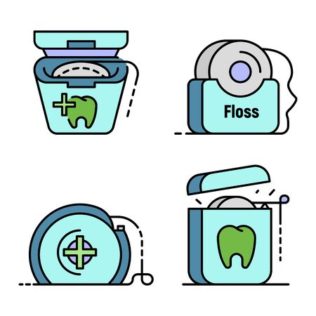 Floss dental icon set line color vector Vettoriali