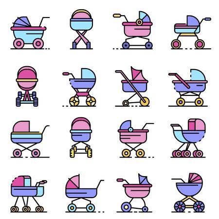 Pram icons set line color vector