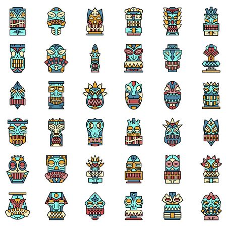 Tiki idols icon set line color vector