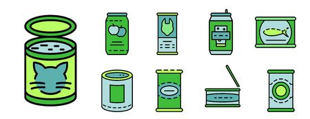 Tin can icon set line color vector