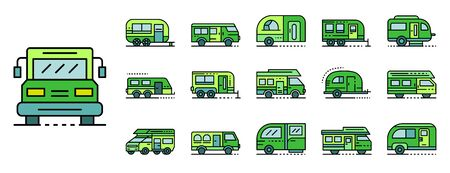 Motorhome icons set line color vector