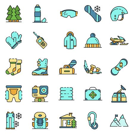 Snowboarding equipment icon set. Outline set of snowboarding equipment vector icons thin line color flat isolated on white