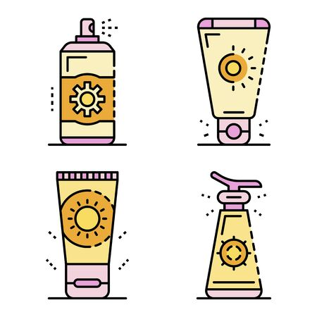 Sunscreen icon set. Outline set of sunscreen vector icons thin line color flat isolated on white