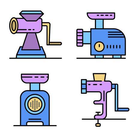 Meat grinder icons set line color vector