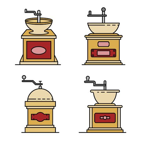 Coffee grinder icons set line color vector