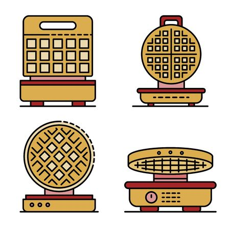 Waffle-iron icons set line color vector