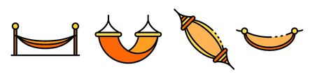 Hammock icons set line color vector