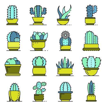 Succulent icons set line color vector