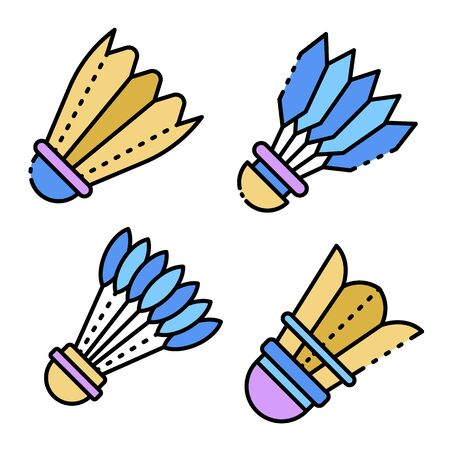 Shuttlecock icons set line color vector
