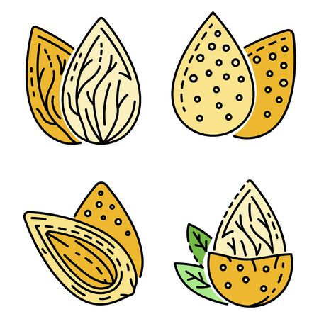 Almond icon set. Outline set of almond vector icons thin line color flat isolated on white 向量圖像