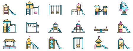 Kid playground icons set. Outline set of kid playground vector icons thin line color flat isolated on white
