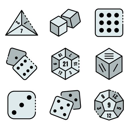 Dice icons set. Outline set of dice vector icons thin line color flat isolated on white Stok Fotoğraf - 149384826